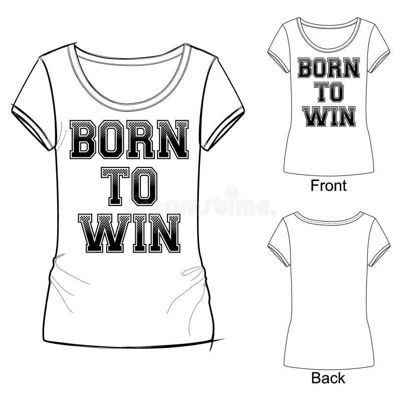 Vektorillustration av den svartvita skjortan för sportmodetryck t, märka som uthärdas för att segra med lutningeffekt stock illustrationer