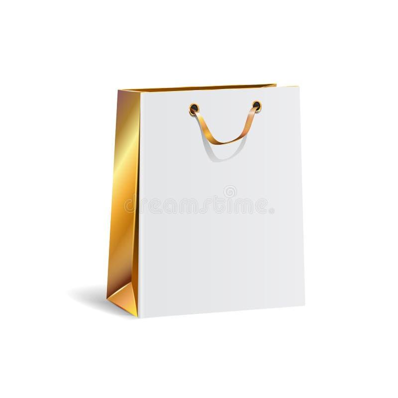 Vektorillustration av den tomma påsen för gåvapappersshopping med guld- sidor Isolerat falskt övre stock illustrationer