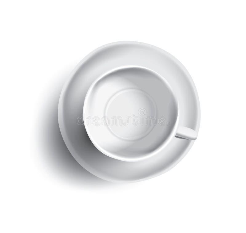 Vektorillustration av den tomt kopp te eller kaffe, bästa sikt stock illustrationer