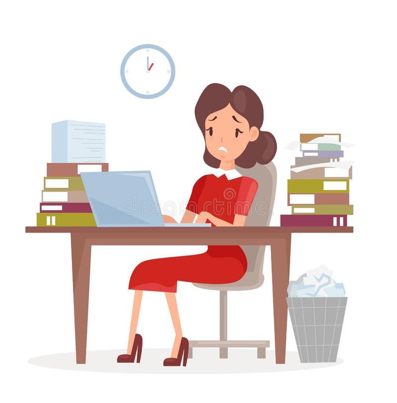 Vektorillustration av den trött och sedaffärskvinnan eller en revisor i en dräkt som arbetar på en bärbar datordator på henne royaltyfri illustrationer