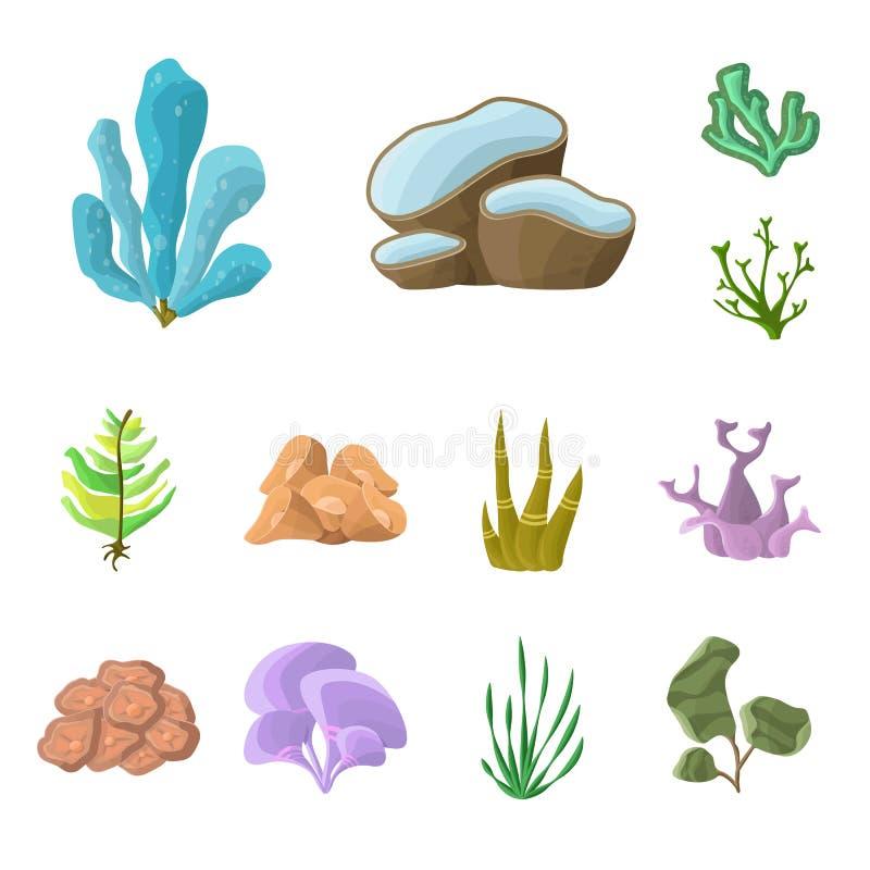 Vektorillustration av den undervattens- och akvariumlogoen Ställ in av undervattens- och för havmaterielvektor illustration stock illustrationer