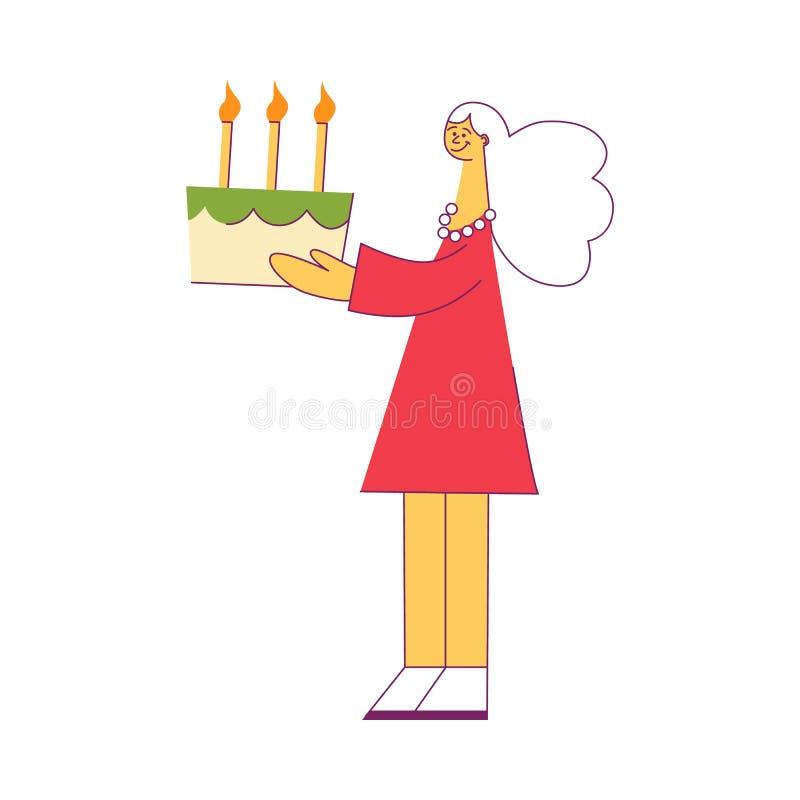 Vektorillustration av den unga kvinnan som rymmer den festliga kakan med brinnande stearinljus royaltyfri illustrationer