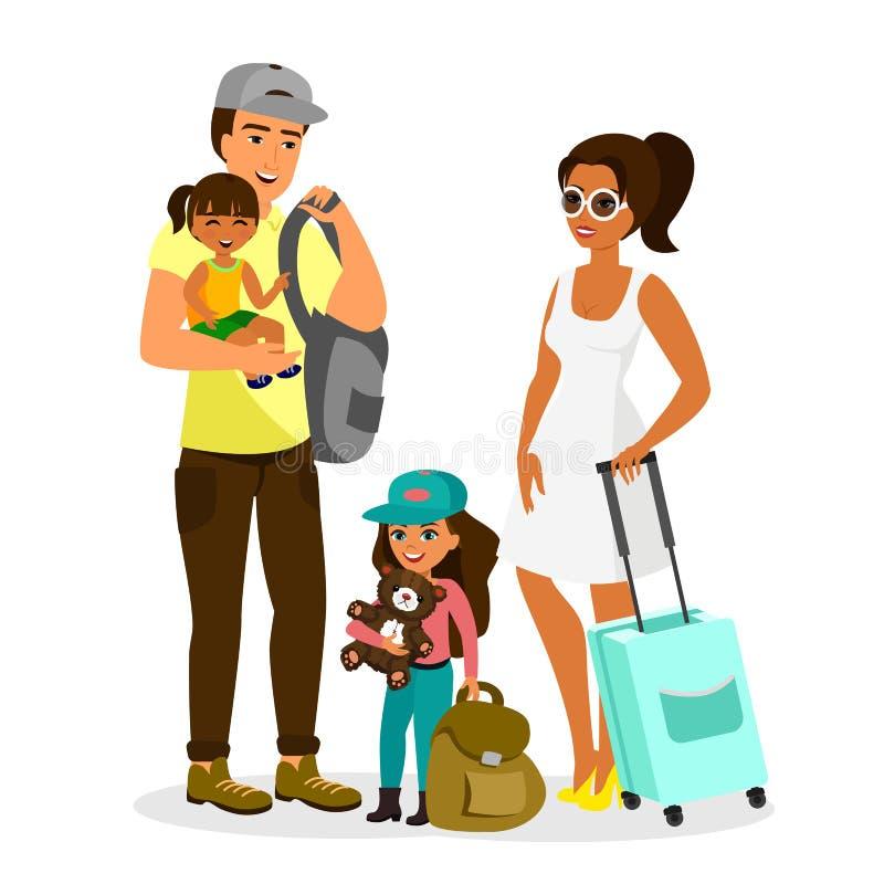 Vektorillustration av den unga lyckliga familjen med att resa för ungar Avla, fostra, sonen, och dottern står tillsammans med pås stock illustrationer
