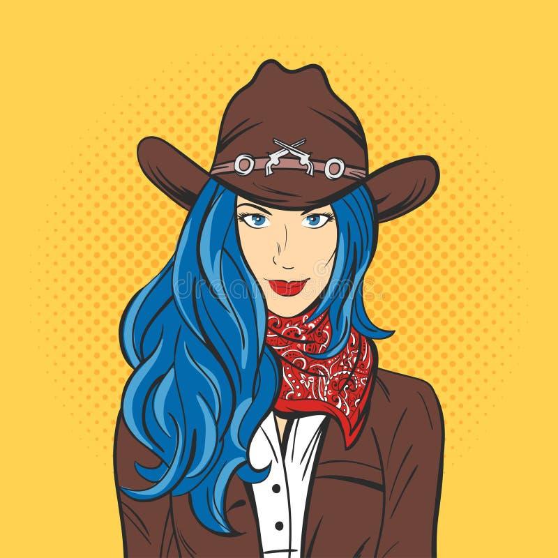 Vektorillustration av den unga nätta flickan i cowboyhatt Popkonst stock illustrationer