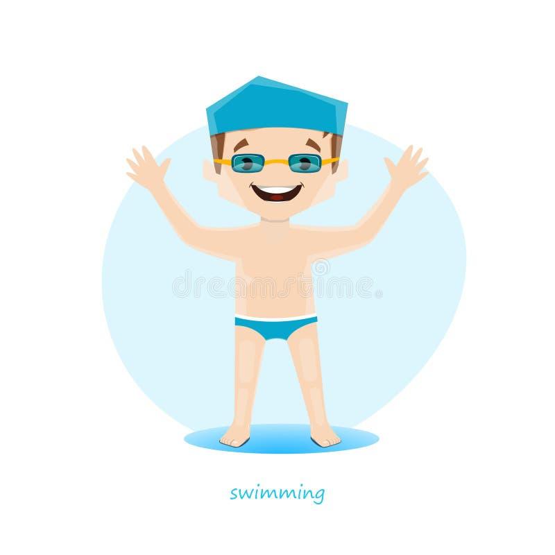 Vektorillustration av den unga simmaren som isoleras på vit bakgrund stock illustrationer