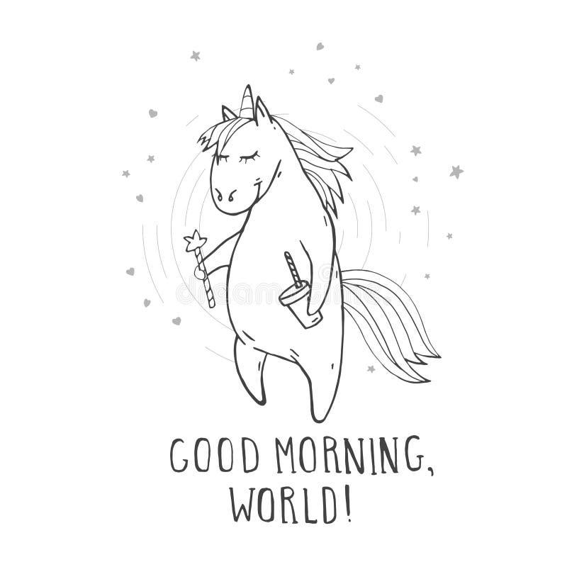 Vektorillustration av den utdragna gulliga enhörningen för hand med trollspöet, kaffe, stjärnor, hjärtor och den BRA MORGONEN för royaltyfri illustrationer
