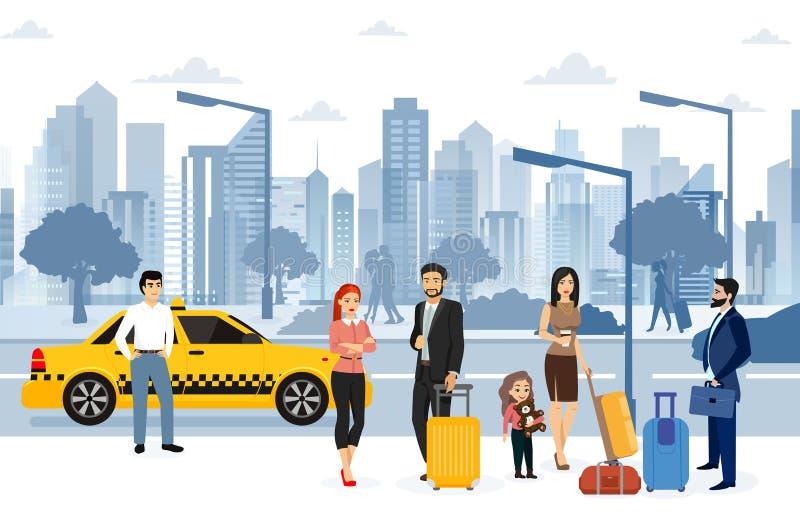 Vektorillustration av den väntande taxien för folk på gatan Många passagerare väntar på en taxi framme av flygplatsen royaltyfri illustrationer