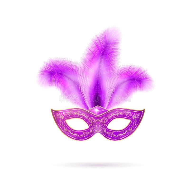 Vektorillustration av den violetta Venetian karnevalmaskeringen med färgrika fjädrar royaltyfri illustrationer