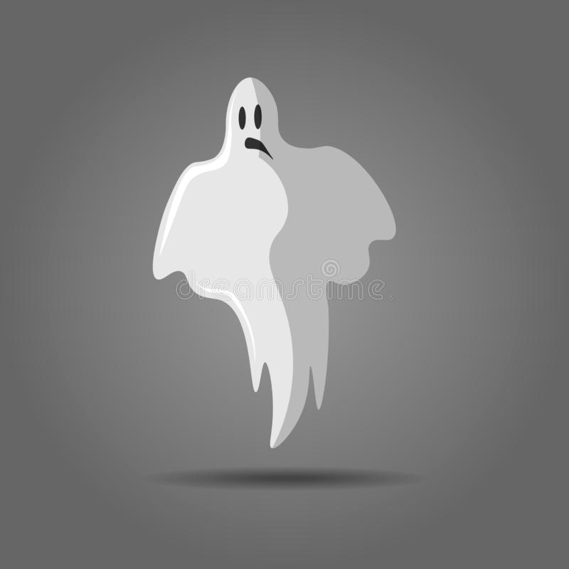 Vektorillustration av den vita spöken, inbillad kontur på grå bakgrund Spöklikt monster för allhelgonaafton, läskig ande eller vektor illustrationer