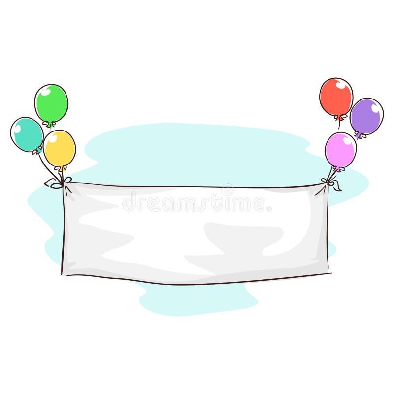 Vektorillustration av den vita tomma banertorkduken som binds i ballonger för födelsedagmeddelande stock illustrationer