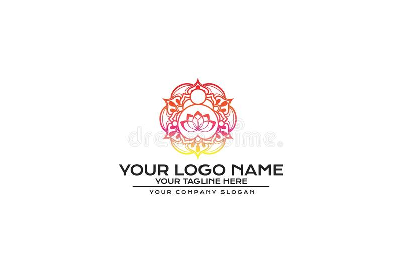 Vektorillustration av designen för blommaMandalalogo stock illustrationer