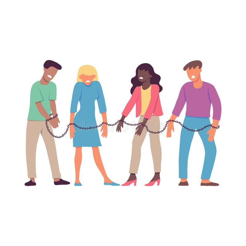 Vektorillustration av destinerat av en kedjepersoner som tvingas för att arbeta eller vara tillsammans stock illustrationer