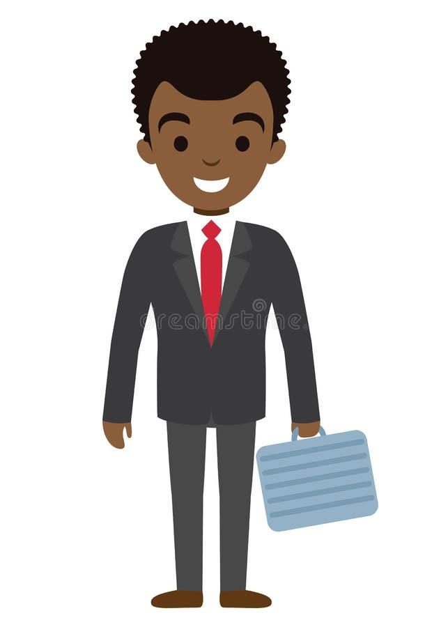 Vektorillustration av det afro amerikanska affärsmanteckenet med fallet Plan stil royaltyfri illustrationer