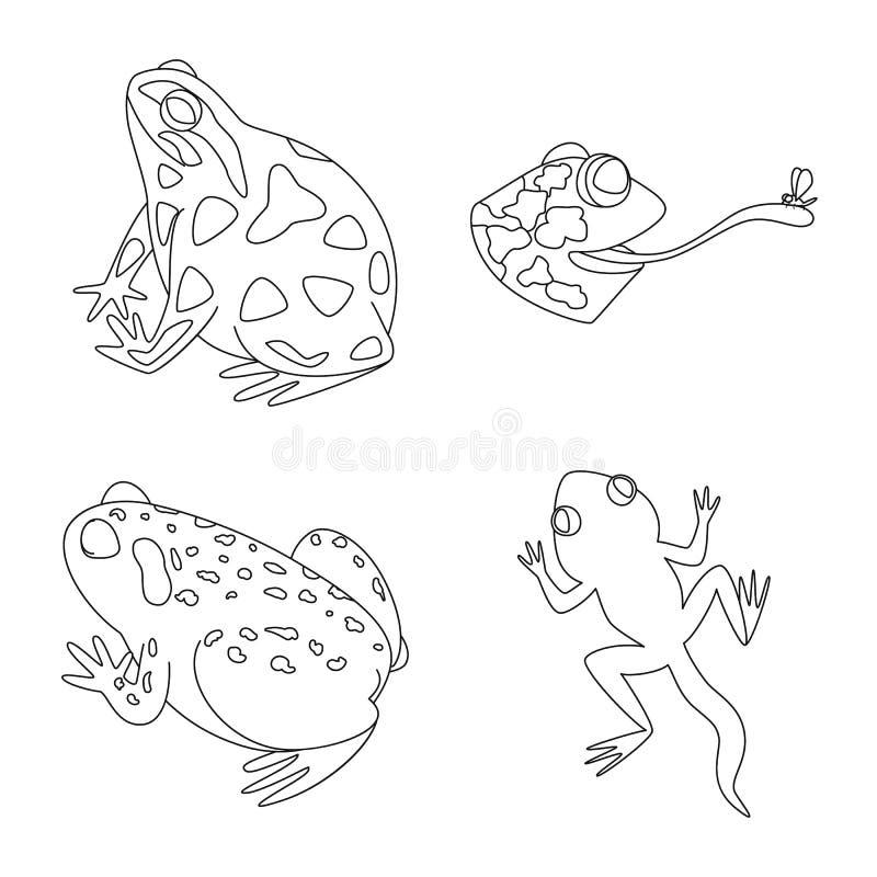 Vektorillustration av det amfibiska och djura symbolet Samling av illustrationen f?r amfibie- och naturmaterielvektor vektor illustrationer