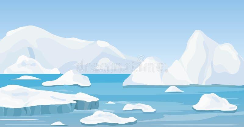 Vektorillustration av det arktiska landskapet för tecknad filmnaturvinter med isberget, blått rent vatten och snökullar, berg stock illustrationer