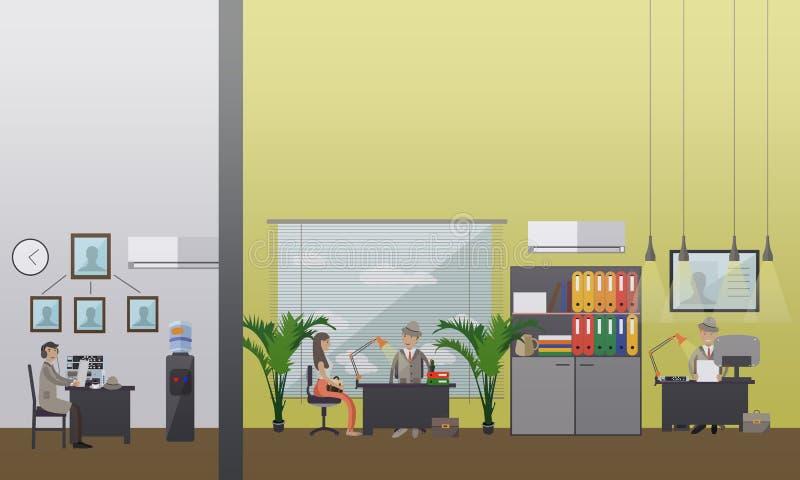 Vektorillustration av det detektiv- kontoret i plan stil vektor illustrationer