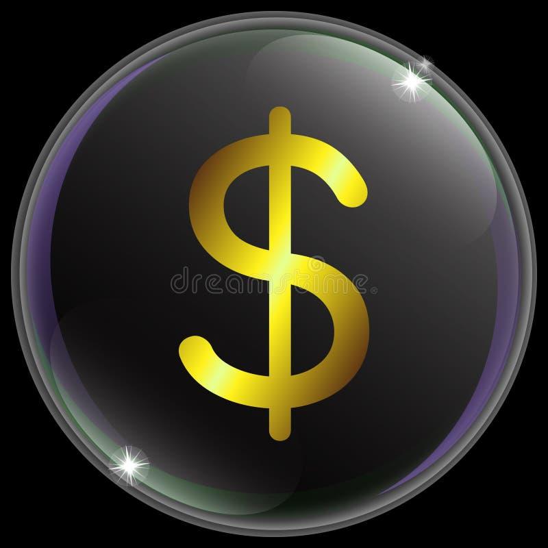 Vektorillustration av det enkla och realistiska US dollarvalutatecknet eller symbolet med guld- lutning royaltyfri illustrationer