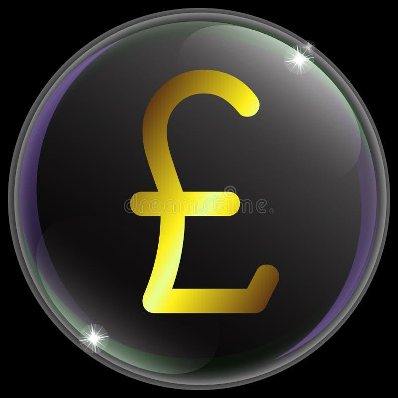 Vektorillustration av det enkla och realistiska valutatecknet eller symbolet för brittiskt pund med guld- lutning stock illustrationer