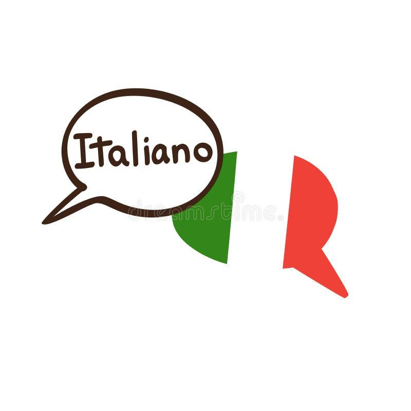 Vektorillustration av det italienska språket och nationsflaggan av Italien royaltyfri illustrationer