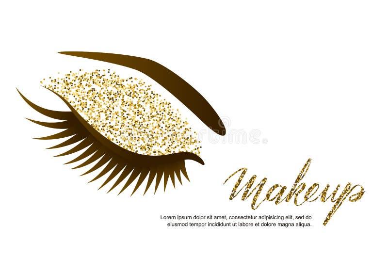 Vektorillustration av det kvinnliga ögat med långa ögonfrans och lyxig makeup Guld- blänker ögonskuggor, moderiktig makeup royaltyfri illustrationer