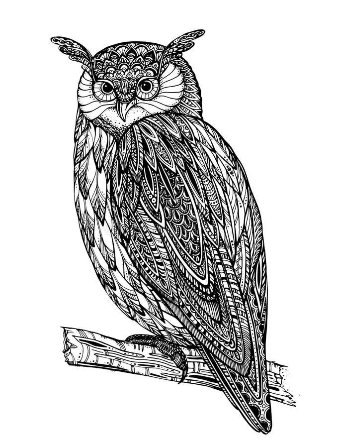 Vektorillustration av det lösa totemdjuret - uggla stock illustrationer