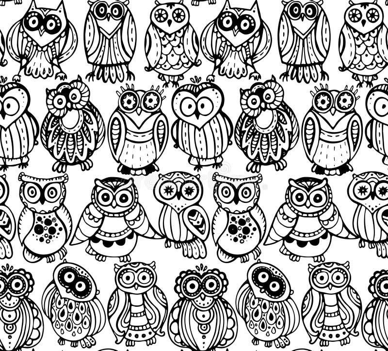 Vektorillustration av det lösa totemdjuret - uggla med rosor vektor illustrationer