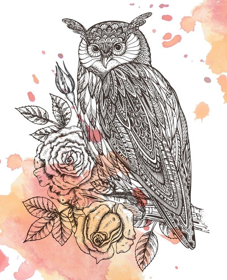 Vektorillustration av det lösa totemdjuret - uggla med rosor royaltyfri illustrationer