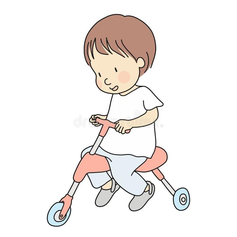 Vektorillustration av det lilla lilla barnet som rider en trehjuling Utvecklingsaktivitet för tidig barndom, utbildning, benägenh stock illustrationer