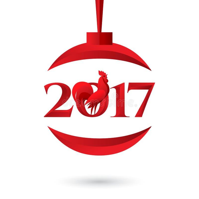 Vektorillustration av det lyckliga nya året 2017 med den röda tuppen, boll vektor illustrationer