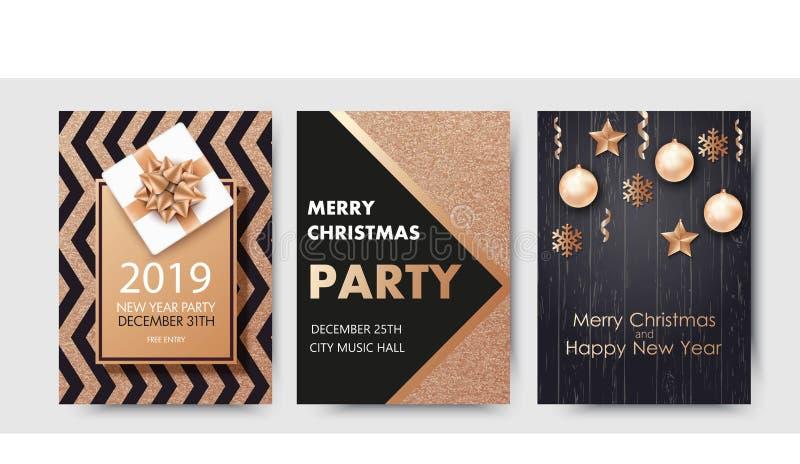 Vektorillustration av det lyckliga nya året 2019 och glad jul broschyr, reklamblad, parti, ferieinbjudan vektor illustrationer