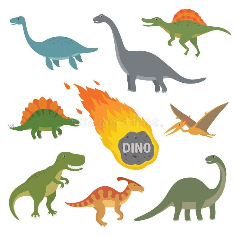 Vektorillustration av det lyckliga tecknad filmdinosaurieteckenet - uppsättning royaltyfri illustrationer