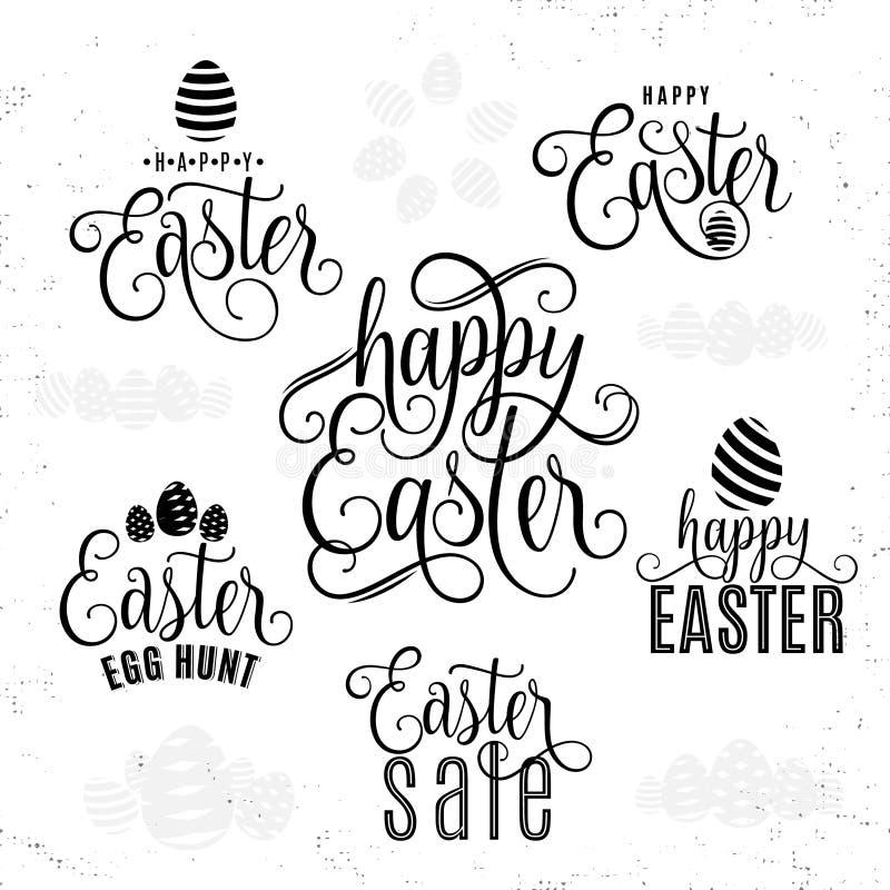 Vektorillustration av det lyckliga tecknet för text för hälsning för easter bokstävertypografi vektor illustrationer
