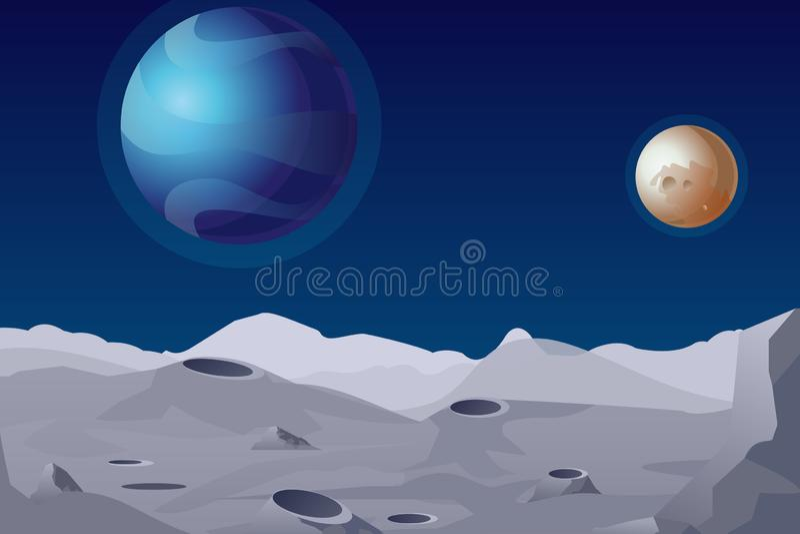 Vektorillustration av det mån- landskapet med krater Härliga planeter på bakgrund stock illustrationer