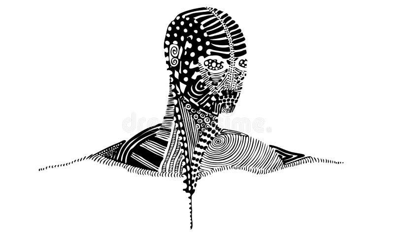 Vektorillustration av det mönstrade mänskliga huvudet och skuldror royaltyfri illustrationer