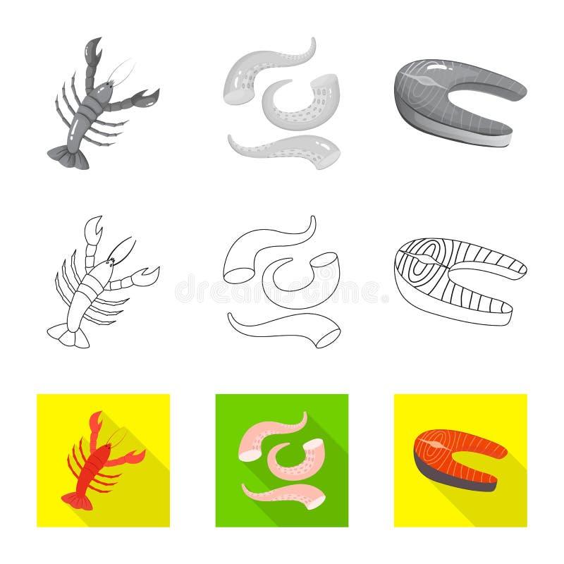 Vektorillustration av det ny och restaurangtecknet Samling av den nya och marin- vektorsymbolen f?r materiel royaltyfri illustrationer