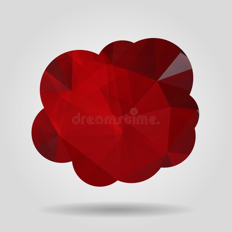 Vektorillustration av det röda triangelpappersmolnet på grå backgrou stock illustrationer