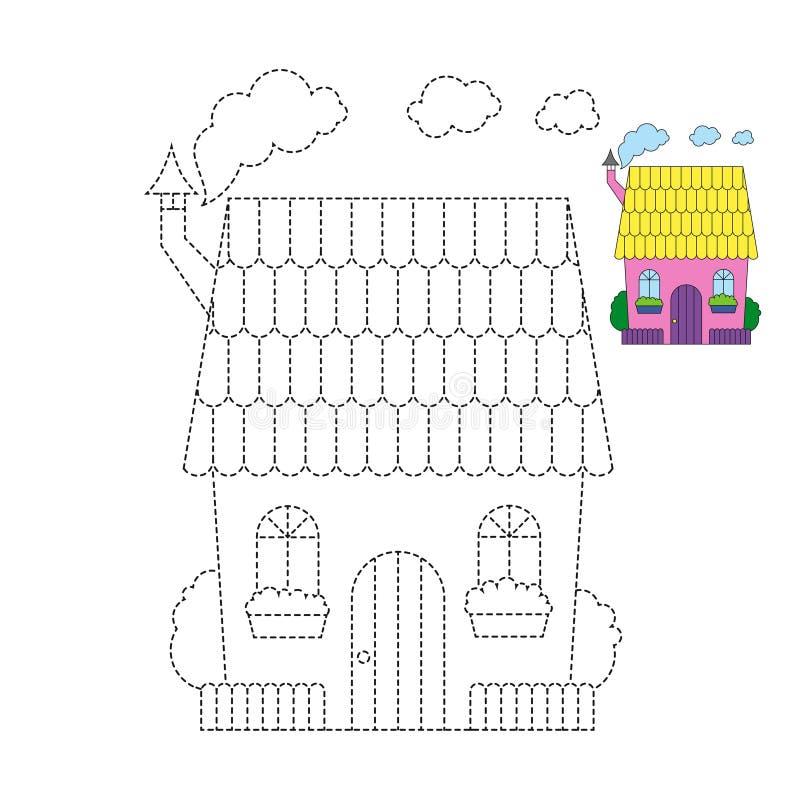Vektorillustration av det roliga huset f?r f?rgl?ggningbok royaltyfri illustrationer