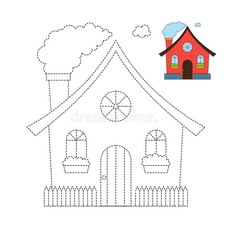 Vektorillustration av det roliga huset f?r f?rgl?ggningbok stock illustrationer