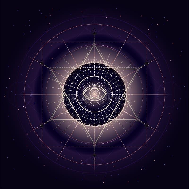 Vektorillustration av det sakral eller mystikersymbolet på abstrakt bakgrund Geometriskt tecken som dras i linjer Guld- och lilaf vektor illustrationer