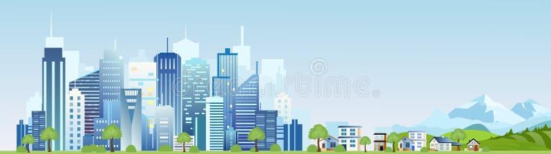 Vektorillustration av det stads- industriella stadslandskapet Stor modern stad med skyskrapor med berg och landet vektor illustrationer