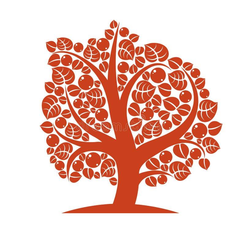 Vektorillustration av det stiliserade branchy trädet på vit b royaltyfri illustrationer