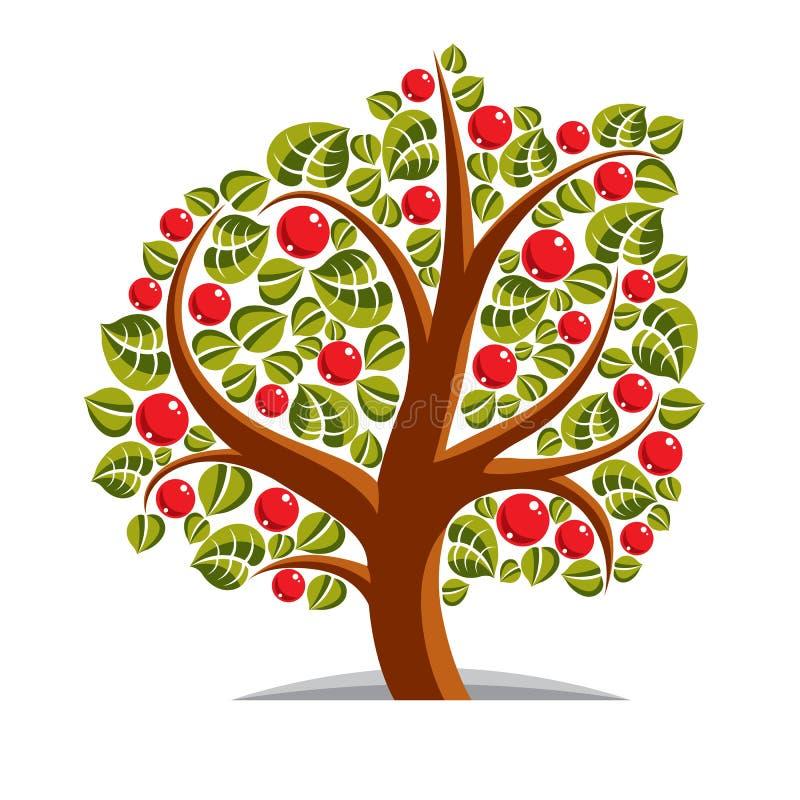 Vektorillustration av det stiliserade branchy trädet som isoleras på vit b stock illustrationer
