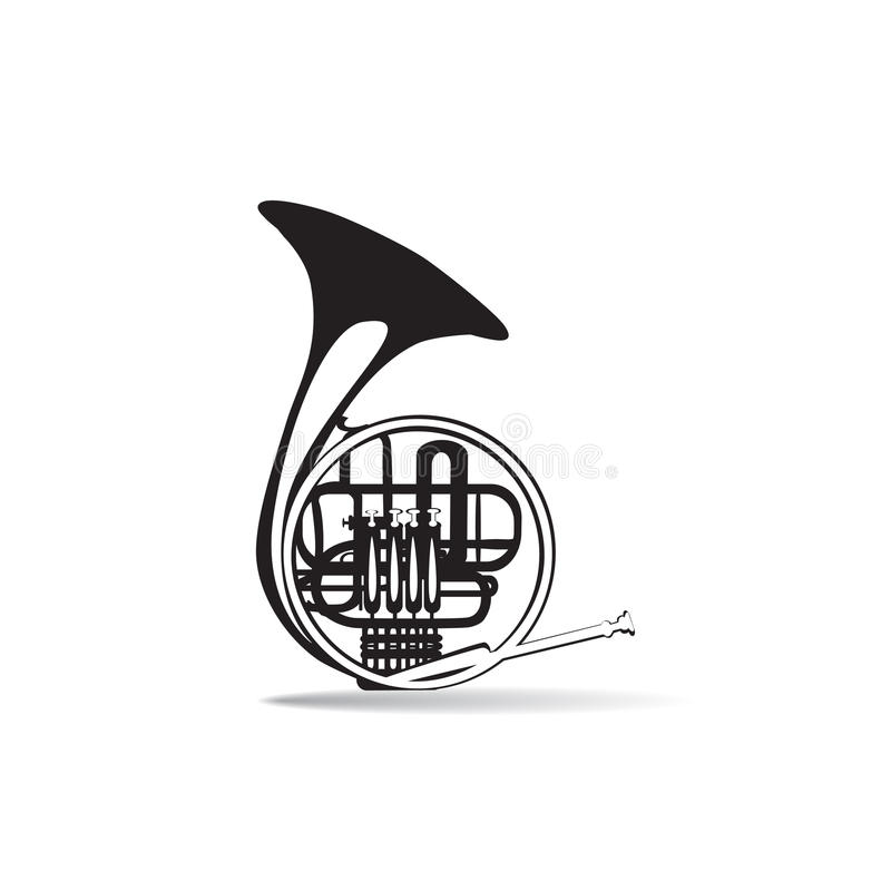 Vektorillustration av det svartvita franska hornet, lägenhetstildesign royaltyfri illustrationer