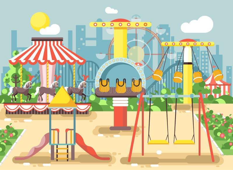 Vektorillustration av det tomma nöjesfältet som är utomhus- med gungor, kedjan eller hästkaruseller, karnevalmässaberg-och dalban stock illustrationer
