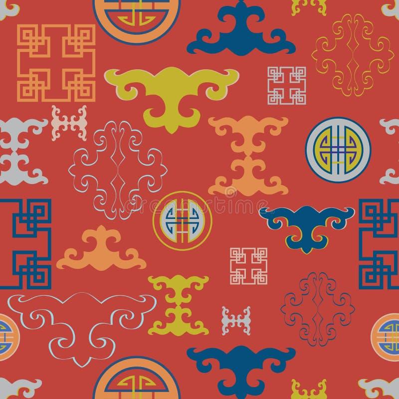 Vektorillustration av det traditionella symbolet och prydnader Seamless repetition mönstrar stock illustrationer