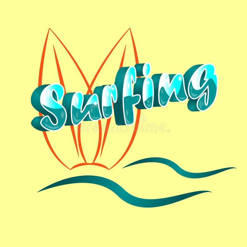 Vektorillustration av det tredimensionella ordet som surfar med den abstrakta surfingbrädan och vågor på beige bakgrund Idérik af vektor illustrationer
