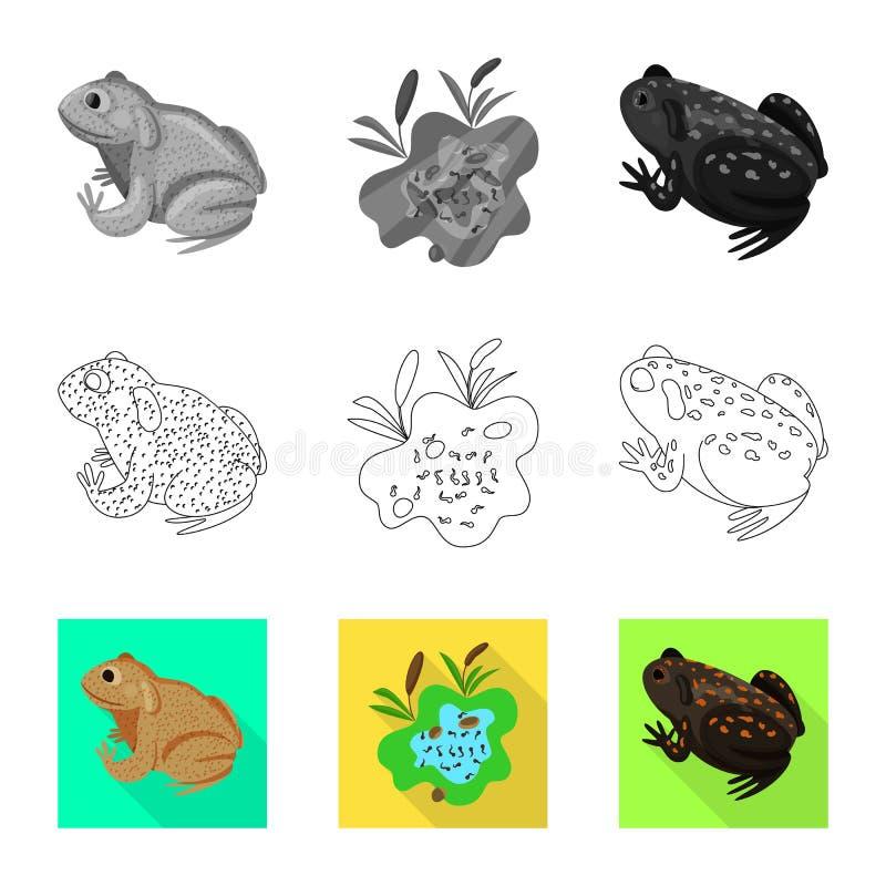 Vektorillustration av djurliv- och myrlogoen Samling av illustrationen f?r djurliv- och reptilmaterielvektor vektor illustrationer