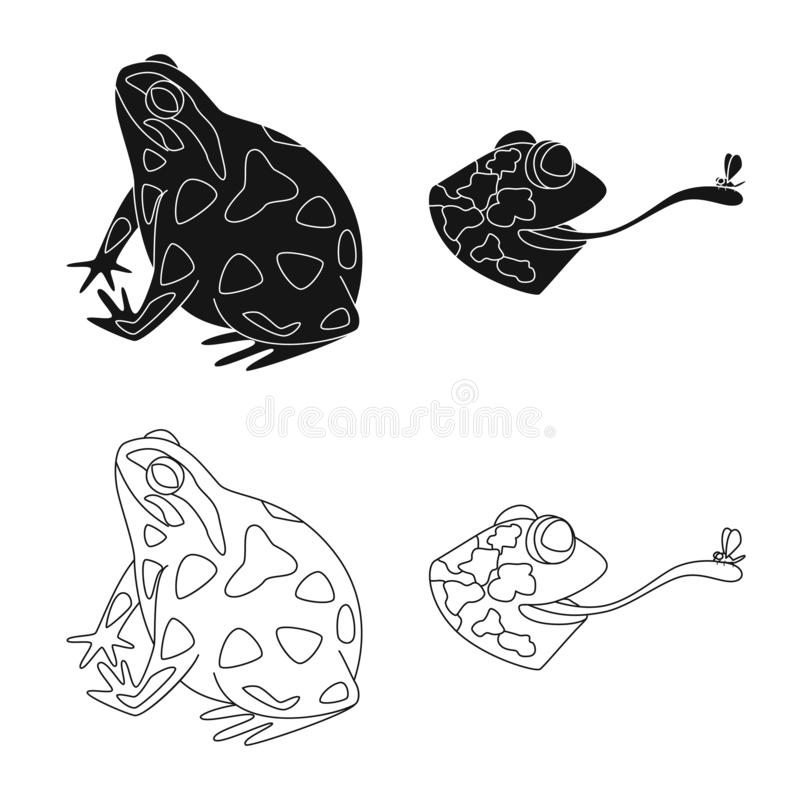 Vektorillustration av djurliv- och myrlogoen St?ll in av illustration f?r djurliv- och reptilmaterielvektor vektor illustrationer