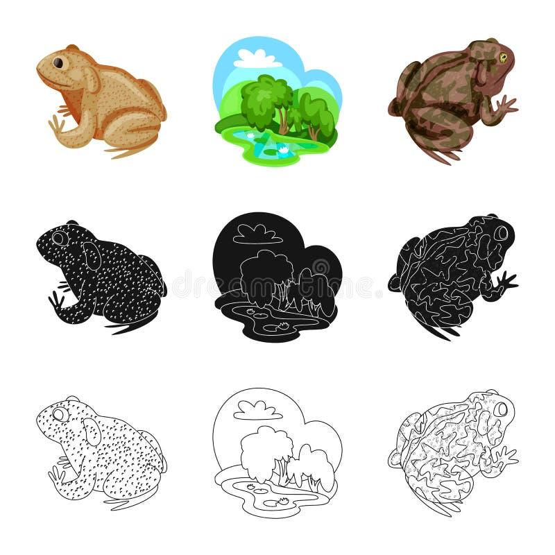 Vektorillustration av djurliv- och myrlogoen St?ll in av djurliv- och reptilmaterielsymbolet f?r reng?ringsduk royaltyfri illustrationer