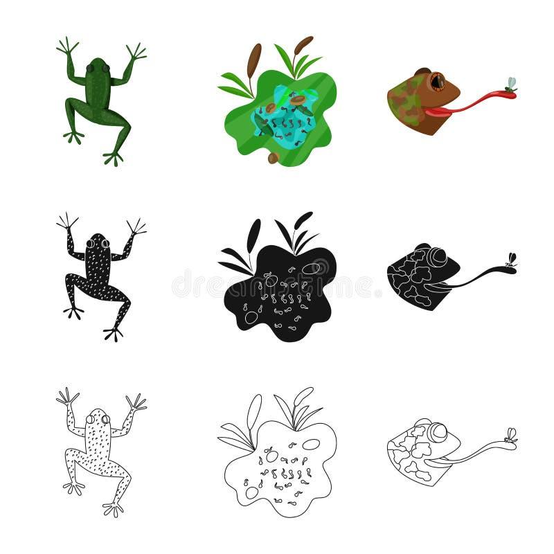 Vektorillustration av djurliv- och myrsymbolet Samling av djurliv- och reptilmaterielsymbolet f?r reng?ringsduk royaltyfri illustrationer